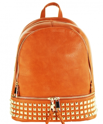 Trendy Wholesale Fashion Back Pack with studs LS1239A BROWN