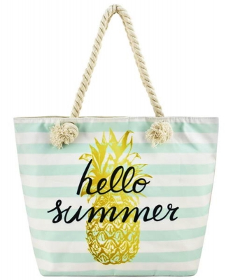 Designer Summer Pineapple Canvas Tote Bag FC00646