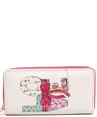 Designer Love Single Zip Around Wallet WA00032