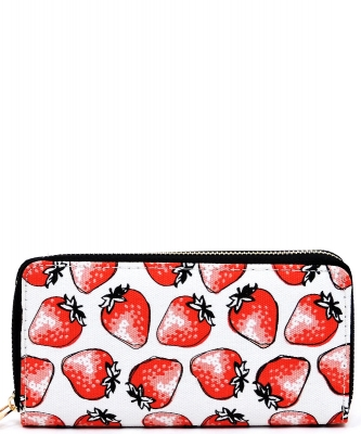 Designer Fruits Single Zip Around Wallet WA00481