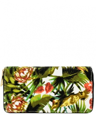 Designer Tropical Single Zip Around Wallet WA00523