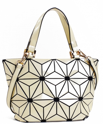 Mini Hologram Tote Shoulder Bag Lightweight Laser PU Leather Purse 87649 BIEGE