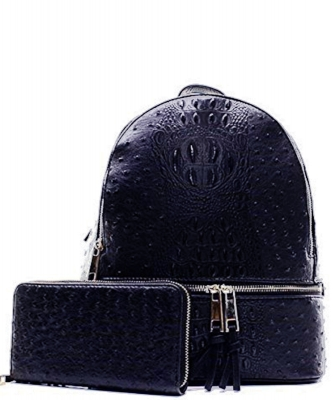 Handbag Inc Ostrich Vegan Leather Small Backpack and Wallet OS1082 NAVY