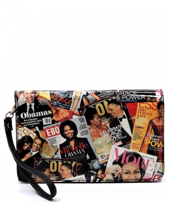 Fashion Magazine Clutch Print Faux Patent Leather Handbag With Gold Embellishments H82505