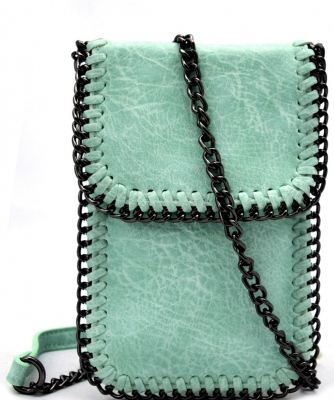 Whipstitch Accent Metal Chain Cross Body Cellphone Case LS2186-MINT