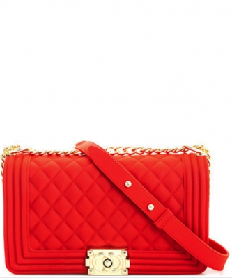 Fashion Chic Thick Pvc Tender Crossbody Bag PR7017 RED