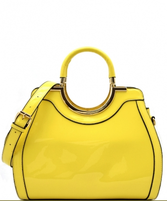 Hardware Handle Accent Glossy Satchel L0785 YELLOW