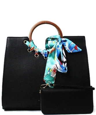 "Wood Handle Trendy "" 2 In 1 "" Fashion Bag SE557 BLACK"