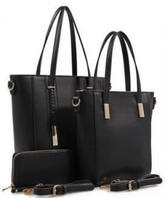 3 in 1 Chic Modern Fashion Satchel Bag BS-T1738 BLACK