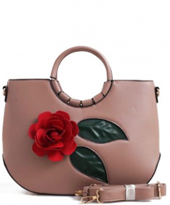 3D Flower Wooden Top Handle Satchel LW1532 TAUPE
