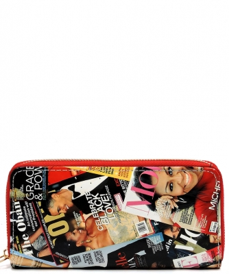 Magazine Cover Collage Zip Wallets WA0038 RED