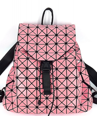 Matte Geometric Checkered BackPack A81068 PINK