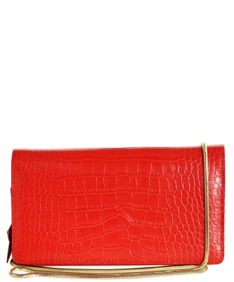 Luxury Genuine Leather Classic Clutch with Chain MTX16 RED