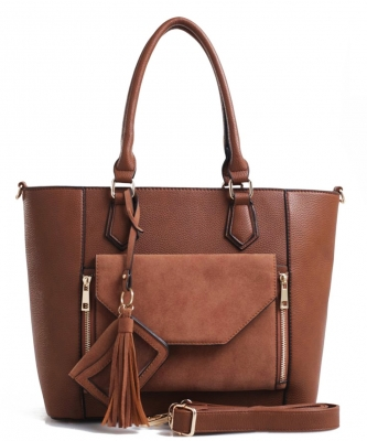 2 IN1 Fashion Tote Bag - EW-1416 TAUPE