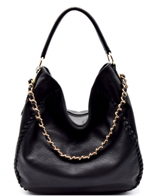 Chain Accent Whipstitched Hobo SS1192-LP BLACK