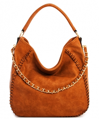 Chain Accent Whipstitched Hobo SS1192-LP TAN