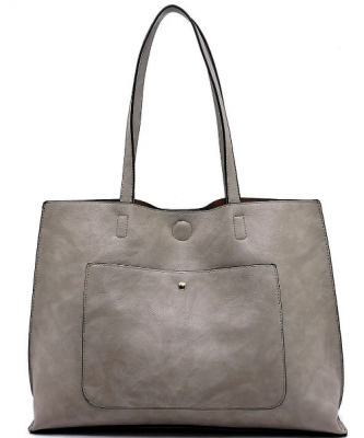 Fashion Front Pocket Reversible Tote WZ6790 GREY