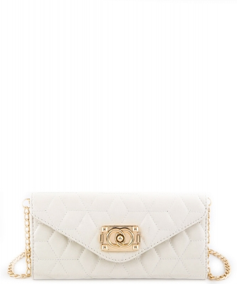 81109  Quilt Crossbody Purse White