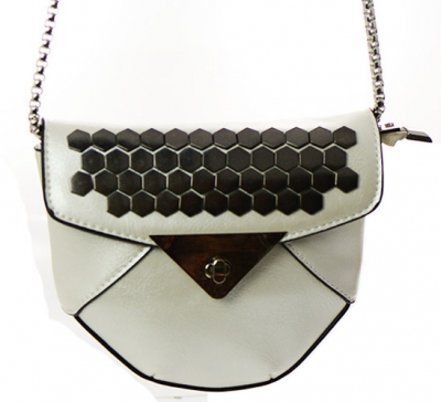 Faux Leather Clutch Purse 66102 White