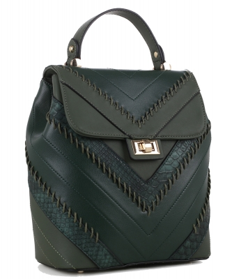 Cute Chevron Stitched Backpack 87885 HGREEN