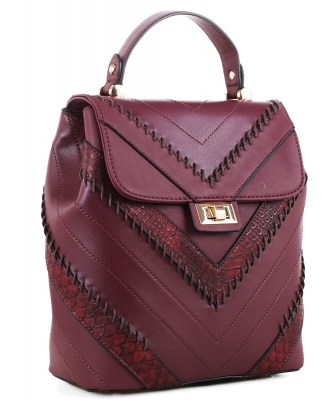 Cute Chevron Stitched Backpack 87885 WINE