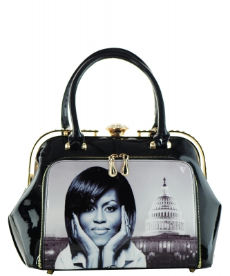Fashion Magazine Print Faux Patent Leather Handbag With Gold Embellishments 9255 BLACK