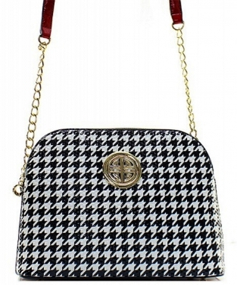 Houndstooth Patent Leather Messanger Bag H040 39376 Red
