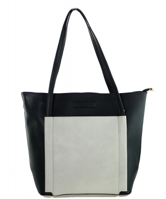Fashion  Accented Tote Handbag With Long Strap A81036 BLACK