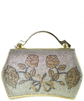 Rhinestone Clutch Purse A9005 GOLD