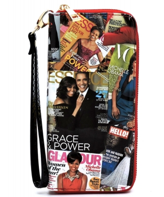 Magazine Cover Collage Zip Around Wallet Wristlet AA-706 MULTI