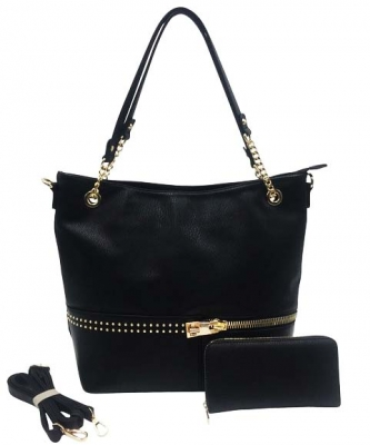 Two in One Tote Handbag Designer with Wallets AG313 BLACK