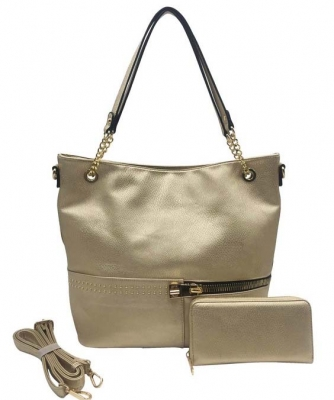 Two in One Tote Handbag Designer with Wallets AG313 CHAMPAGNE