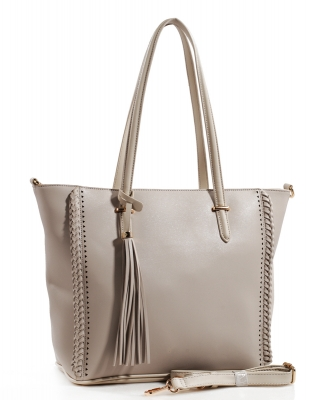 Fashion Logo Accented Tote Handbag With Long Strap AS1615 LGRAY