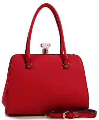 Fashion Jewel Button Clasp Closure Bag BS1645 RED