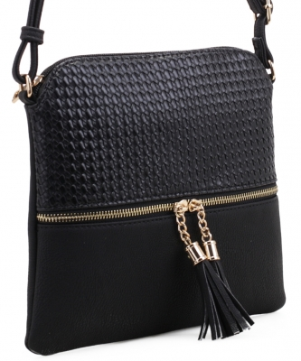 Tassel Zipper Puller Accent  Cross Body Bag BW2309C BLACK