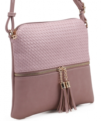 Tassel Zipper Puller Accent  Cross Body Bag BW2309C RDS