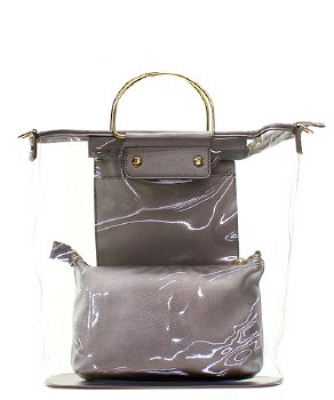 Fashion 2 in 1 Clear Handbag C1087 PEWTER