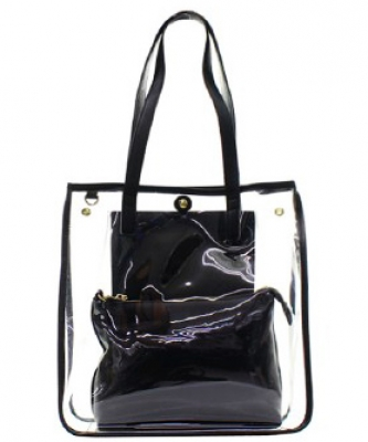 Fashion 2 in 1 Clear Handbag C1089 BLACK