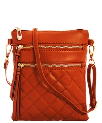 Quilted Crossbody Messenger Bag  CC6051N  Brown