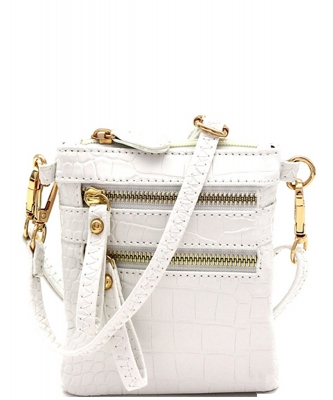 Crocodile Print Multi Pocket Small Wristlet Cross Body CL002 WHITE
