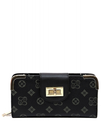 Monogram Print Wallet with Detachable Strap CS041 GREYBLACK