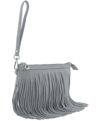 Small Fringe Crossbody Bag with Wrist Strap E091 DARK GREY