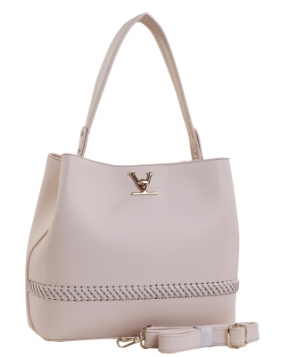 Fashion Logo Accented Tote Handbag With Long Strap ES-1571 NUDE