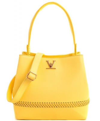 Fashion Logo Accented Tote Handbag With Long Strap ES-1571 YELLOW
