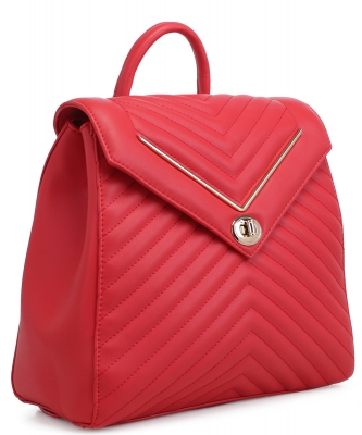 Chevron Pattern Quilted Turn-Lock Fashion Backpack ES1708 RED
