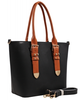 Fashion  Accented Tote Handbag With Long Strap ES1714 BLACK