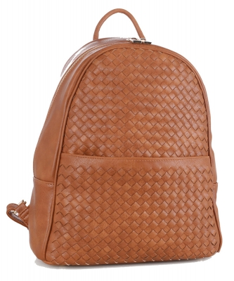 Woven Faux Leather Backpack FC19538 TAN