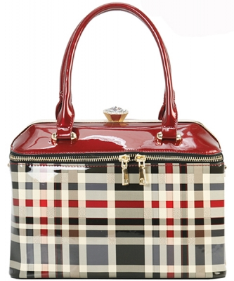 Designer Patent Checkered Framed Bag GZ-7103 RED