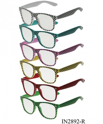 Package of 12 Pieces Checkered Print Clear Sunglasses IN2892-R