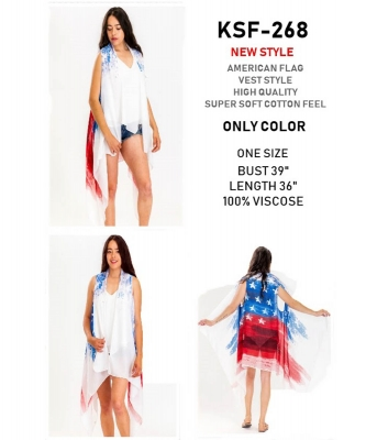 American Flag Vest Style Kimono 6 pcs Pre-Packed
